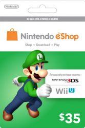 Cartão Nintendo Eshop USA  $35 - 3DS / Wii U (Cash Card)