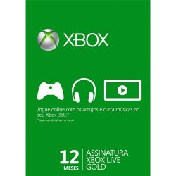 Microsoft Live Gold Card 12 Meses - Live Brasil - Xbox 360 e Xbox One