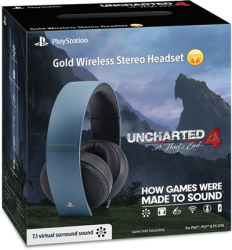 Headset Wireless Stereo Gold Uncharted Edition 7.1 - PS3 / PS4 / PSVita / PC