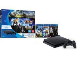 Console Playstation 4 Slim 500GB + 3 Jogos - Oficial Sony - PS4