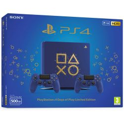 Console Playstation 4 Slim Edição Limitada: Days of Play Edition 500GB c/ 2 Controles  - PS4