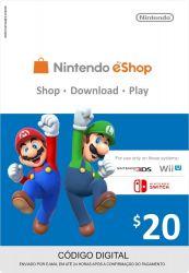 Cartão Nintendo Eshop USA  $20 - 3DS / Wii U (Cash Card)