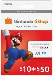 Cartão Nintendo Eshop  USA $60 - 3DS / Wii U (Cash Card)