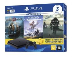 Console Playstation 4 Slim 1TB + 3 Jogos (God of War 4 + Horizon Zero Dawn Complete Edition + Shadow of the Colossus) + PSN 3 Meses - PS4