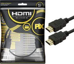 Cabo Hdmi 2.0 4K Hdr 19P 1M Preto - Pix Gold