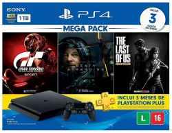 Console Playstation 4 Slim 1TB Bundle Hits 10 (Death Stranding + Gran Turismo: Sport + The Last of Us) - PS4