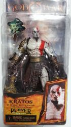 Boneco Kratos in Golden Fleece Armor With Medusa Head